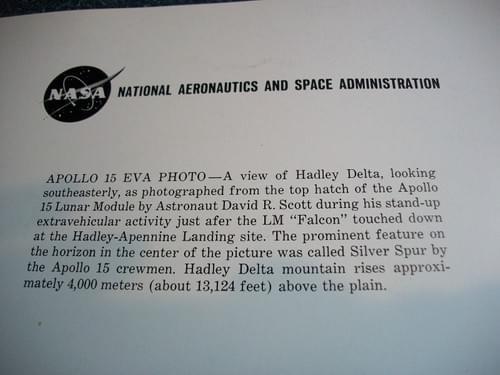 Nasa apollo 15 eva photos Mscl-77 - silver spur at hadley delta
