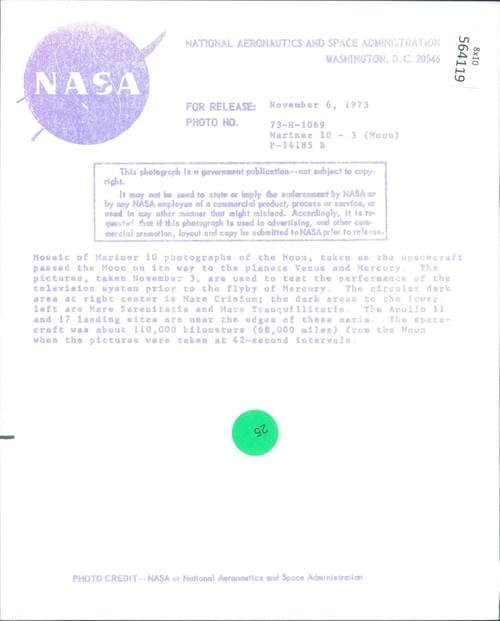 NASA original Mosaic photo of the Moon Mariner 10 (1973 )
