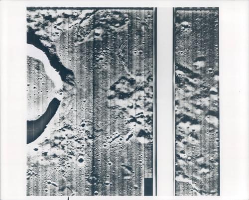 Vintage original photo of the moon taken by Lunar Orbiter 1 (1966)