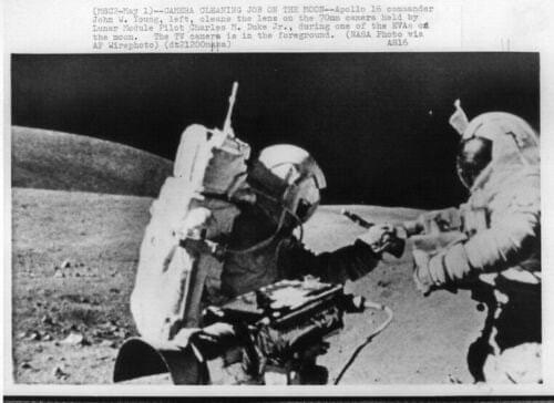 APOLLO 16  Astronauts Young and Duke on Moon