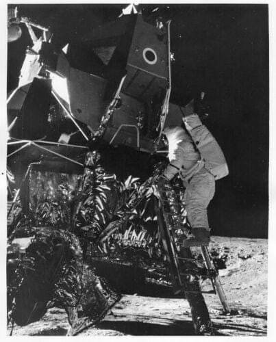 APOLLO 12 Astronaut Alan Bean Descends LM Ladder