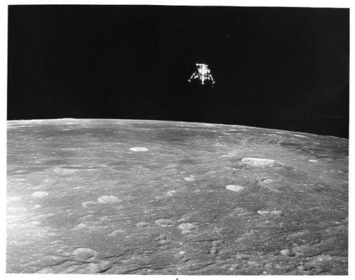 """APOLLO 12  - Lunar Module """"Intrepid"""" Over Moon"""