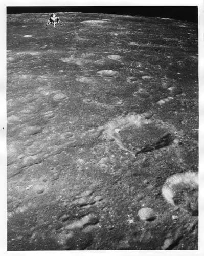 APOLLO 12 / Orig NASA 8x10 Press Photo - Lunar Module over Moon