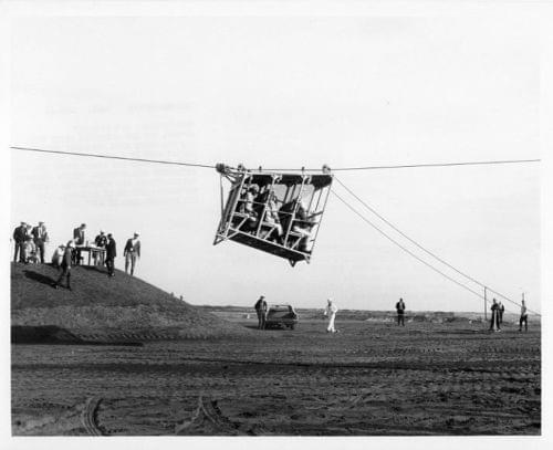 APOLLO 9 / Orig NASA 8x10 Press Photo - Pad 39 Escape Basket Testing