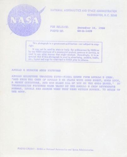 APOLLO 8 / Orig NASA 8x10 Press Photo - View of Moon from Spacecraft