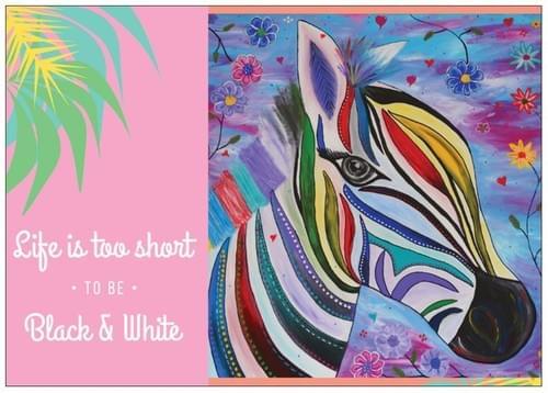 "Zebra - ""Life is too short"" Postcard"