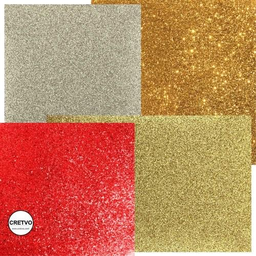 Glitter Metal cardboard, A4 210x297 mm, 120g, red colors, gold and silver, 4 sheets
