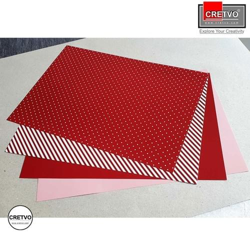Patterned paper, A4 210x297 mm, 100g, Red colors, Lines and dots. 4 sheets