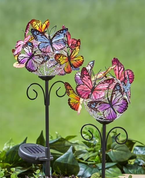 Set of 2 Solar Butterfly Garden Stakes 162108013
