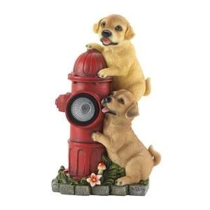 DOGS AND FIRE HYDRANT SOLAR STATUE 10018961
