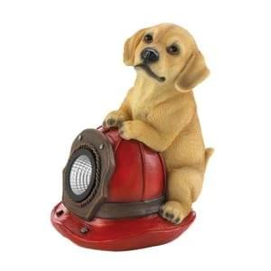 DOG AND FIRE HELMET SOLAR STATUE 10018962