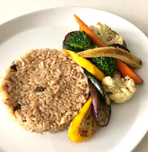 Baked Calrose Rice with Assorted Mushrooms topped with Mediterranean Grilled & Roasted Vegetables