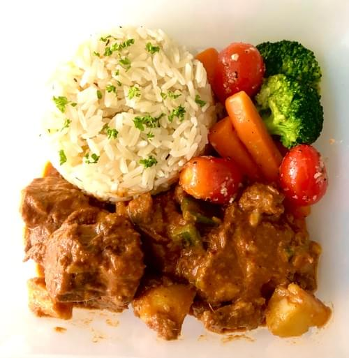 Medieval Hungarian Stew Ribeye of Pasture-raised Beef with hints of Paprika, served with Pilaf Rice