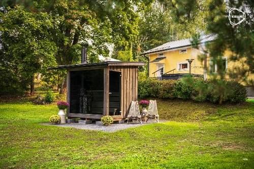(STOCK) Sauna finlandais panoramique prêt à l'emploi