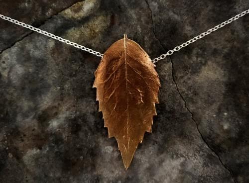 Sassafras leaf necklace