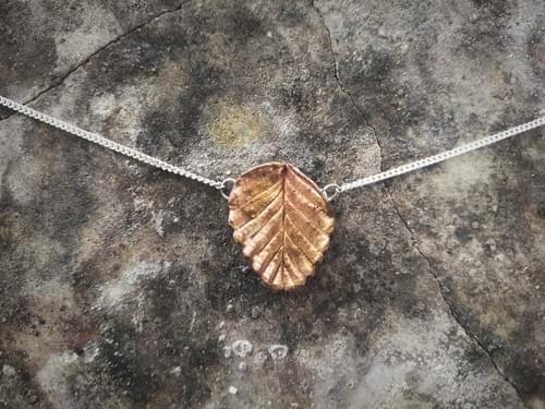 Fagus beech bronze leaf necklace