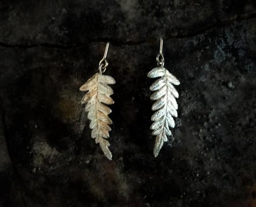 Bracken fern articulated stud earrings