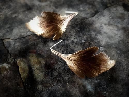 Celery top pine stud earrings (bronze)