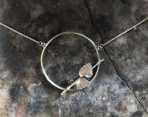 Myrtle twig hoop necklace