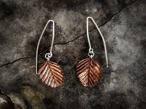Fagus leaf aticulated hook earrings