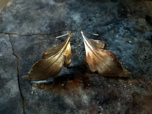 Celery top pine stud earrimg (curled bronze leaf)