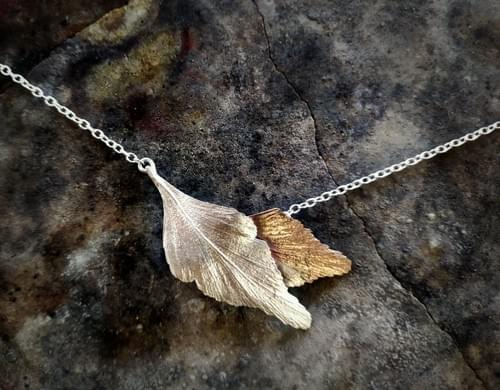 Celery top pine layered leaf necklace