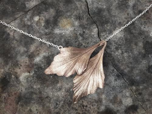 Celery top pine two leaf necklace