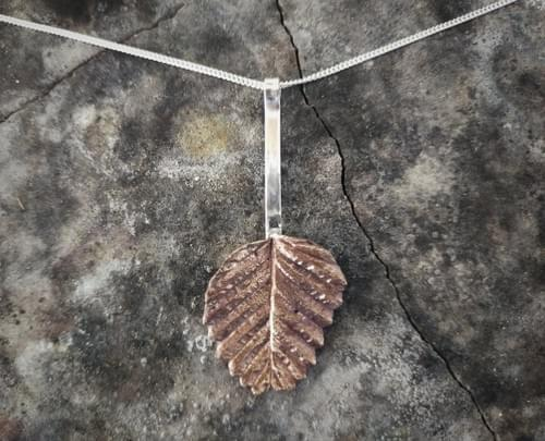 Fagus leaf long drop pendant
