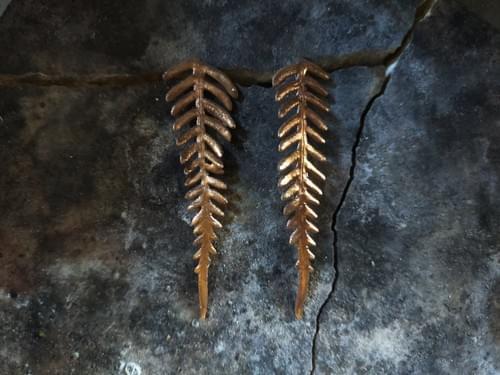 Bracken fern stud earring