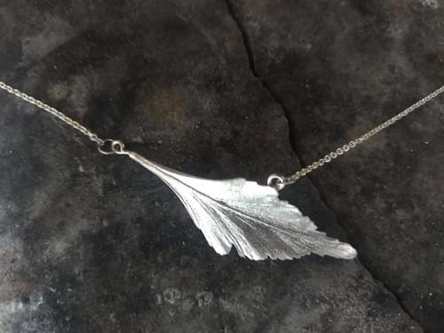 Celery top pine silver leaf necklace
