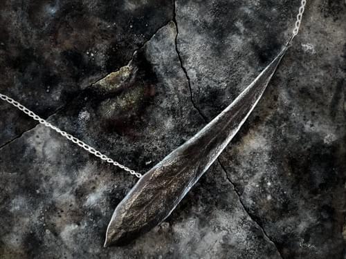 Waratah leaf necklca - blackened silver