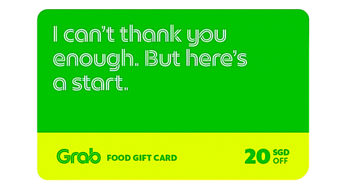 $20 Grab gift card  [Redeem for free with 10,000 points]
