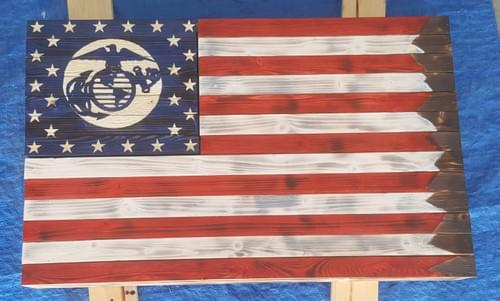 Custom Made USA Wooden Flag