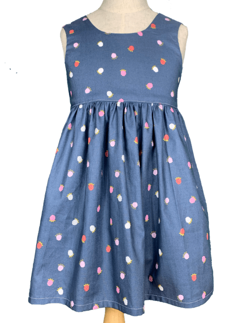 Bow Dress - Strawberry Blue