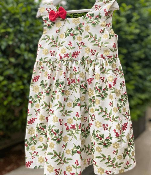 Festive Holly  Bow Dress