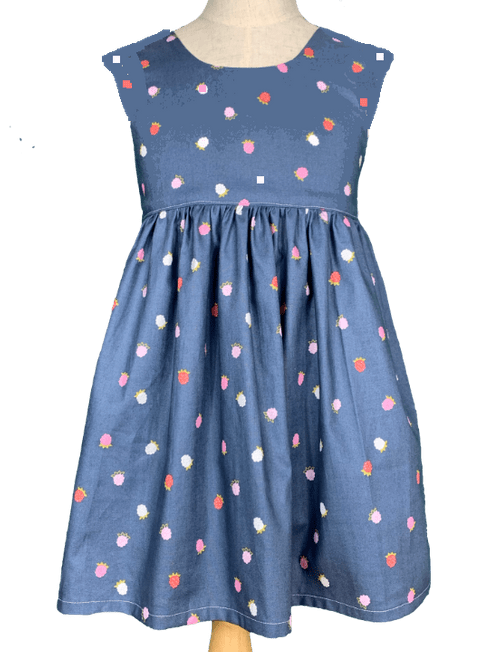Cap sleeve Dress - Strawberry Blue