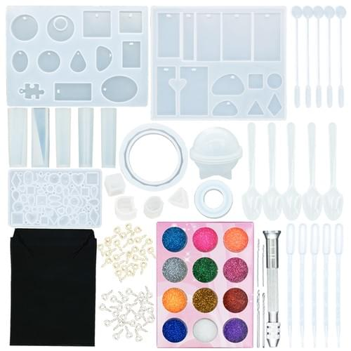 83 PCS Silicone Casting Molds and Tools Set with a Black Storage Bag for DIY Jewelry Craft Making