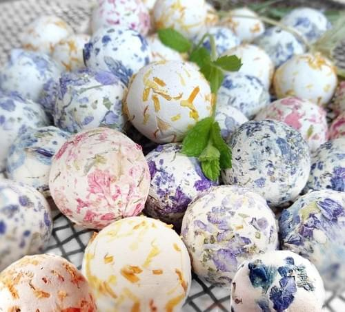 50 Botanical Seed Bombs Rainbow of Colors Plus Instruction Cards