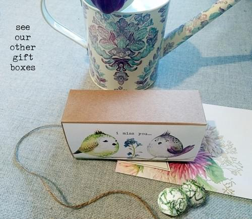 """""""I miss You"""" Gift Box of Seed Bombs Pretty Gardening Wildflowers BFF Gift Vintage Style"""