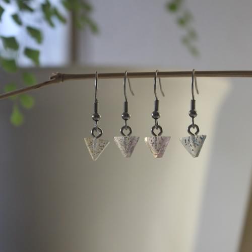 *glitter*~*~*triangle epoxy bobble earring