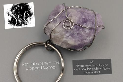 Natural Amethyst Wire Wrapped Keyring