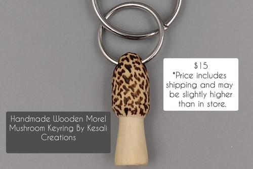 Handmade Wooden Morel Mushroom Keyring by Kesali Creations