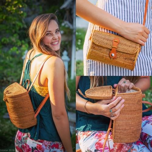 SALE! Woven Rattan Backpack with Leather Straps