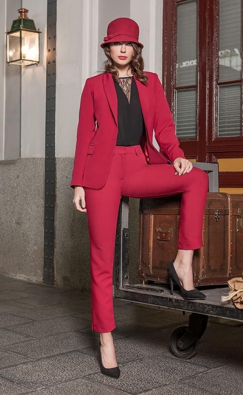 Traje chaqueta rojo Olimara