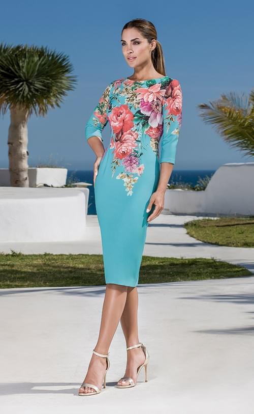 Vestido Olimara Turquesal T/48 3120121