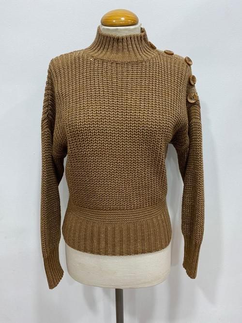 Jersey de cuello gris y marrón. T/UNI.