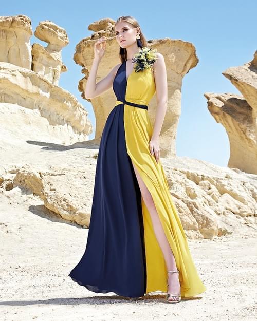 Vestido Sonia Peña amarillo y azul T/38.  1200163