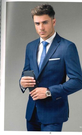 Traje  caballero cuadros azul marino.