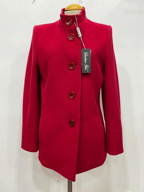 Chaquetón de Cashmere rojo Cristina Félix.