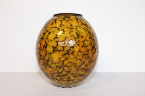 Yellow/Black Glass Vase